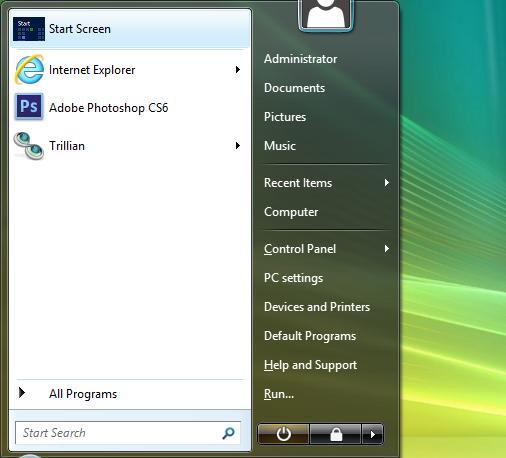 Vista underline menu template